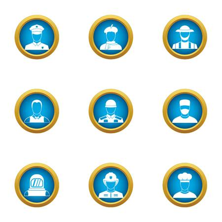 Countenance icons set. Flat set of 9 countenance vector icons for web isolated on white background