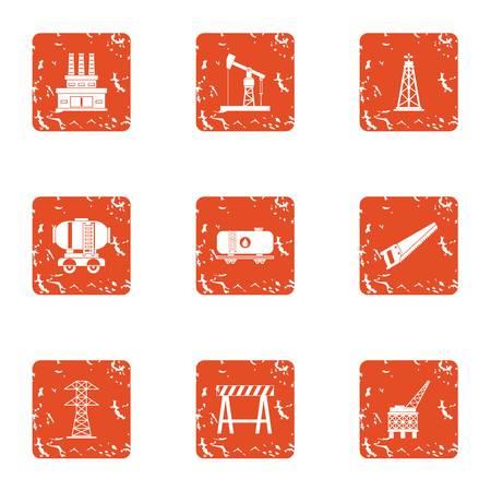Operation life icons set. Grunge set of 9 operation life vector icons for web isolated on white background Illustration