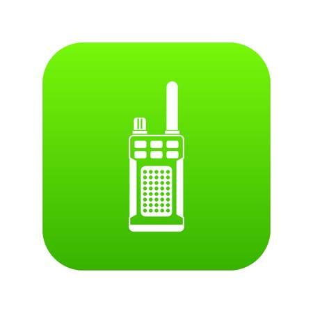 Portable handheld radio icon digital green for any design isolated on white vector illustration Illustration