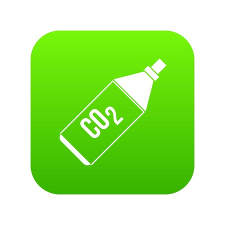 CO2 bottle icon digital green for any design isolated on white vector illustration