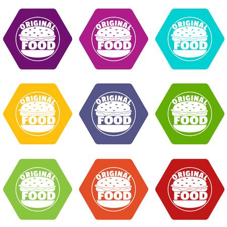 Original burger icons 9 set coloful isolated on white for web