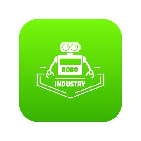 Robot industry icon green vector isolated on white background
