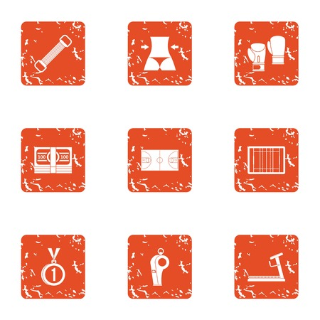 Slim body icons set. Grunge set of 9 slim body vector icons for web isolated on white background