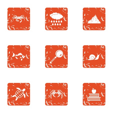 Monitoring icons set. Grunge set of 9 monitoring vector icons for web isolated on white background