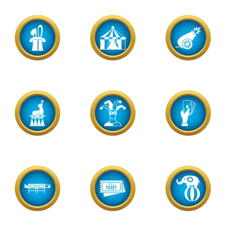 Circus celebration icons set. Flat set of 9 circus celebration vector icons for web isolated on white background