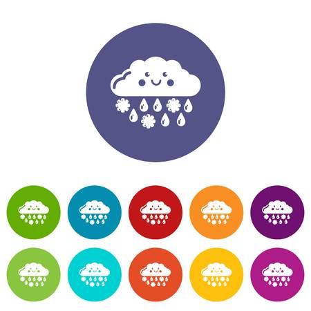 Snow and rain icons color set vector for any web design on white background