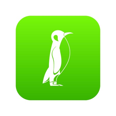 Penguin icon green vector isolated on white background