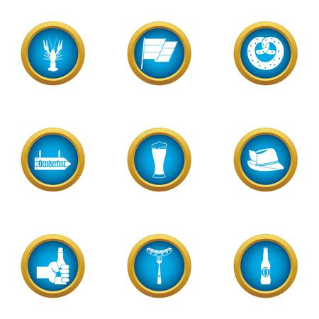 Beer evening icons set. Flat set of 9 beer evening vector icons for web isolated on white background
