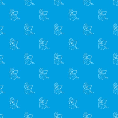 Toy box in spring pattern vector seamless blue repeat for any use