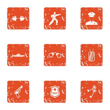 Police training icons set. Grunge set of 9 police training vector icons for web isolated on white background