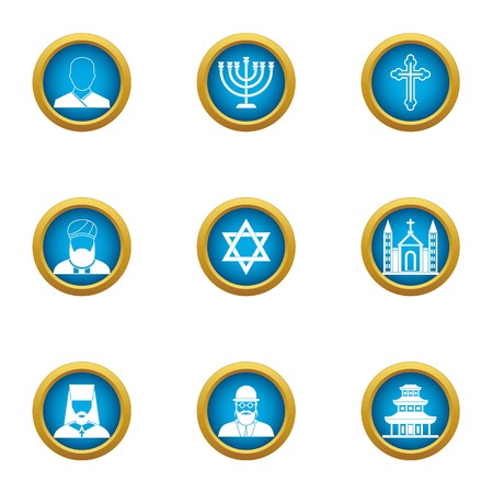 Choice of religion icons set. Flat set of 9 choice of religion vector icons for web isolated on white background