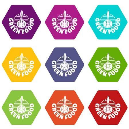Onion icons 9 set coloful isolated on white for web