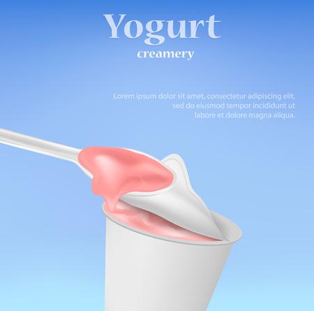 Yogurt concept background. Realistic illustration of yogurt vector concept background for web design