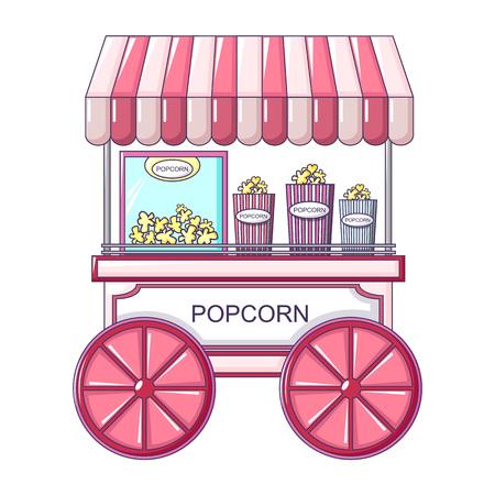 Popcorn Street Shop Symbol. Karikatur der Popcorn-Straßengeschäft-Vektorikone für Webdesign lokalisiert auf weißem Hintergrund