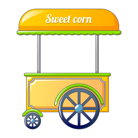 Sweet corn street shop icon. Cartoon of sweet corn street shop vector icon for web design isolated on white background