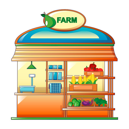 Farm vegetables street shop icon. Cartoon of farm vegetables street shop vector icon for web design isolated on white background Vettoriali