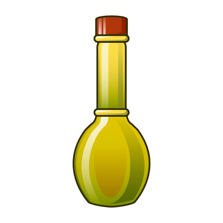 Virgin olive oil bottle icon. Cartoon of virgin olive oil bottle vector icon for web design isolated on white background Çizim