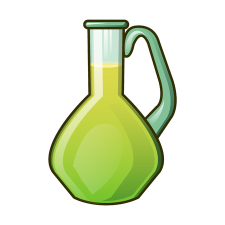 Olive oil glass jar icon. Cartoon of olive oil glass jar vector icon for web design isolated on white background Illustration