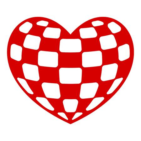 Checkers heart icon. Simple illustration of checkers heart vector icon for web design isolated on white background