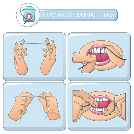 Floss dental brushing teeth banner concept set. Cartoon illustration of 5 floss dental brushing teeth vector banner concepts for web Çizim