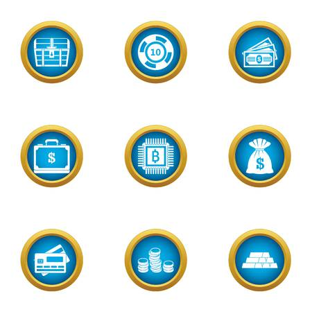 Money circulation icons set. Flat set of 9 money circulation vector icons for web isolated on white background Çizim