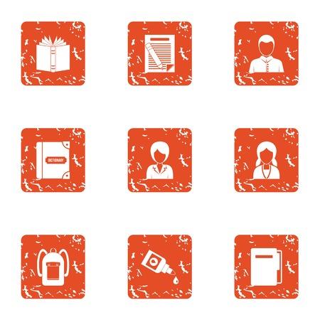 Educator icons set. Grunge set of 9 educator vector icons for web isolated on white background Illustration