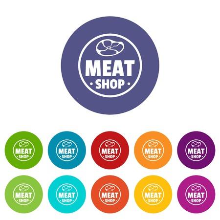 Modern meat shop icons set vector color