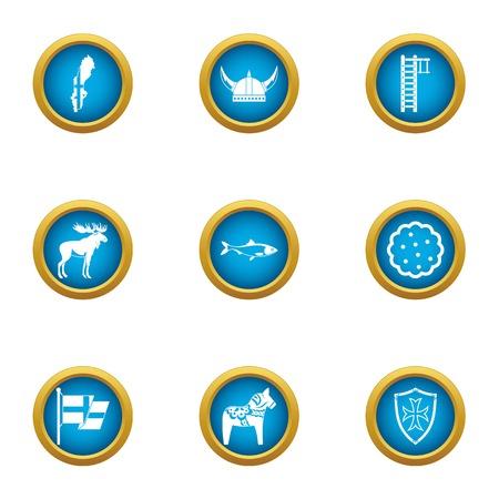 Viking icons set. Flat set of 9 viking vector icons for web isolated on white background