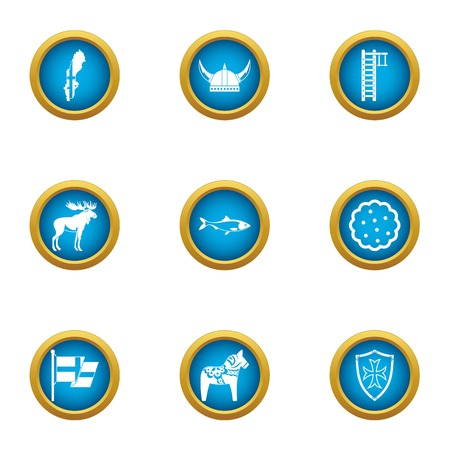 Viking icons set. Flat set of 9 viking vector icons for web isolated on white background