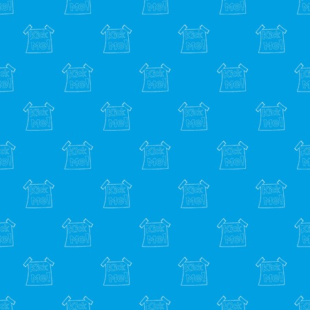 Inscription Kick me pattern vector seamless blue repeat for any use Stock Illustratie
