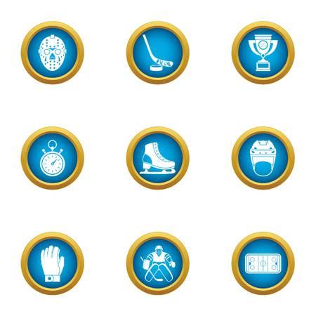 Hockey race icons set. Flat set of 9 hockey race vector icons for web isolated on white background
