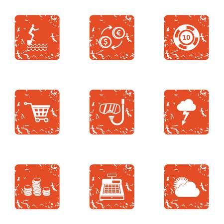 Money at box office icons set. Grunge set of 9 money at box office vector icons for web isolated on white background Çizim
