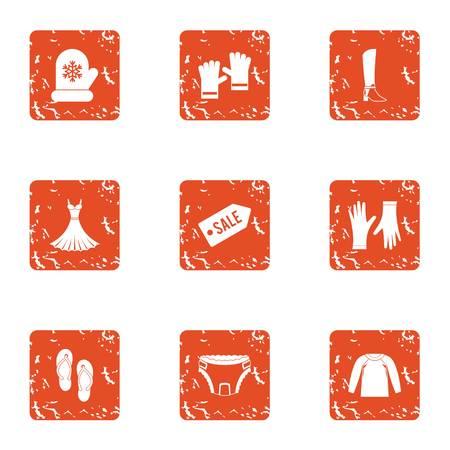 Conjunto de iconos de venta de liquidación. Conjunto de grunge de 9 iconos de vector de venta de liquidación para web aislado sobre fondo blanco