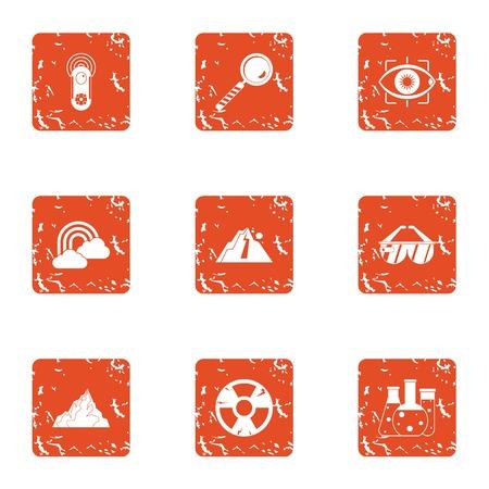 Autochemistry icons set. Grunge set of 9 autochemistry vector icons for web isolated on white background