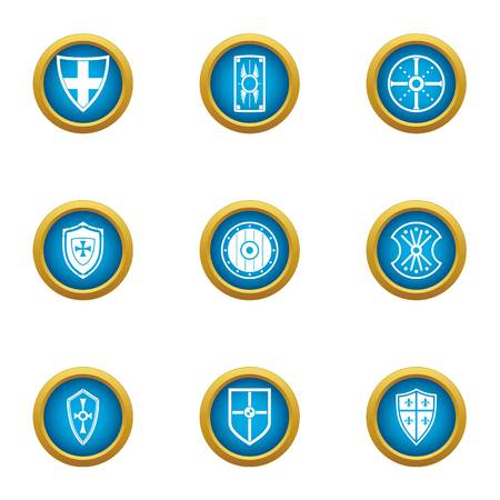 Shield sewn icons set. Flat set of 9 shield sewn vector icons for web isolated on white background Stock Illustratie