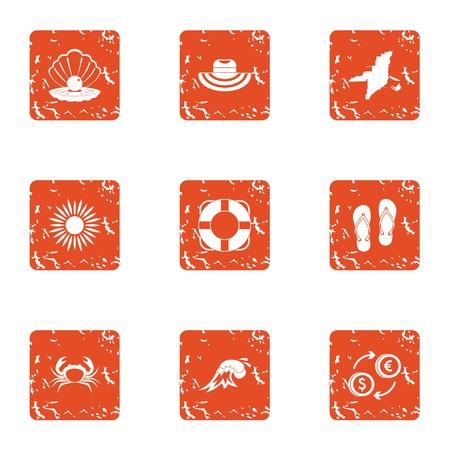 Cabotage icons set. Grunge set of 9 cabotage vector icons for web isolated on white background