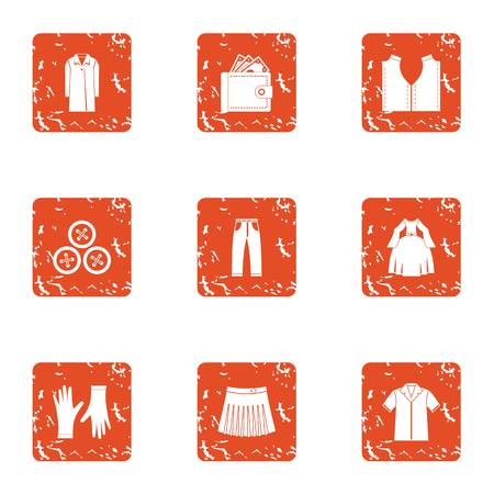 Buy clothes icons set. Grunge set of 9 buy clothes vector icons for web isolated on white background