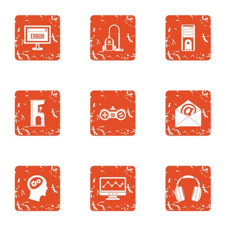 Software error icons set. Grunge set of 9 software error vector icons for web isolated on white background