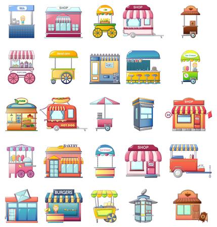 Street food kiosk icons set. Cartoo illustration of 25 street food kiosk vector icons for web Vecteurs