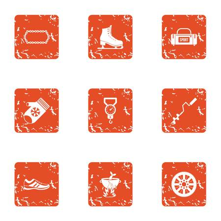 Sport fishing icons set. Grunge set of 9 sport fishing vector icons for web isolated on white background Çizim