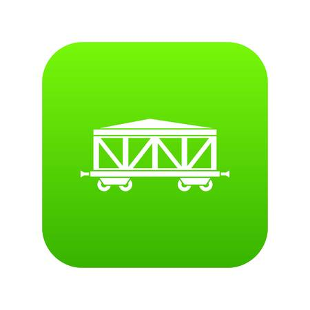 Train cargo wagon icon digital green for any design isolated on white vector illustration