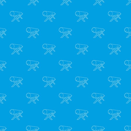 Goats for sawing logs pattern vector seamless blue repeat for any use