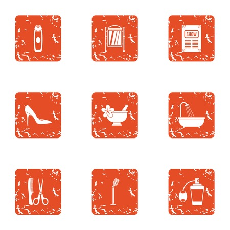 Public space icons set. Grunge set of 9 public space vector icons for web isolated on white background
