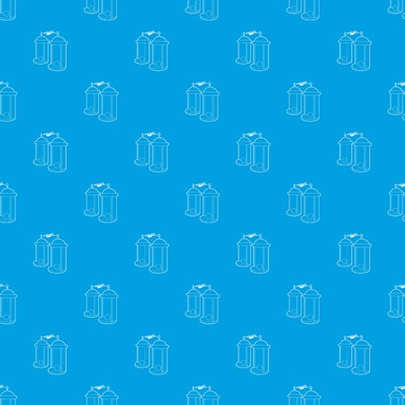 Electrical impulses pattern vector seamless blue repeat for any use