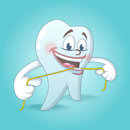 Cute tooth with floss concept background. Cartoon illustration of cute tooth with floss vector concept background for web design