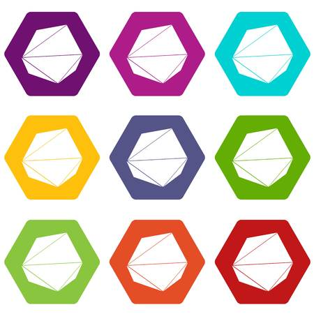 Origami stone icons 9 set coloful isolated on white for web Illustration