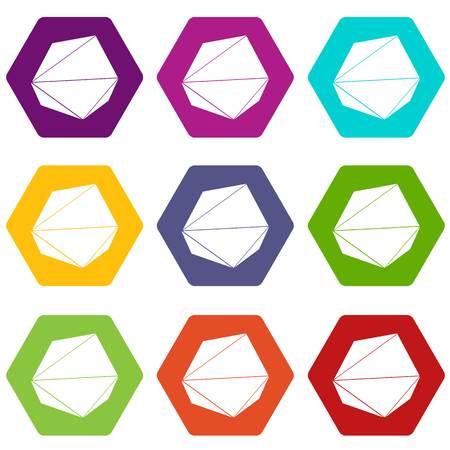 Origami stone icons 9 set coloful isolated on white for web Illustration