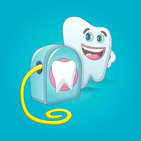 Smiling tooth with floss box concept background. Cartoon illustration of smiling tooth with floss box vector concept background for web design Иллюстрация
