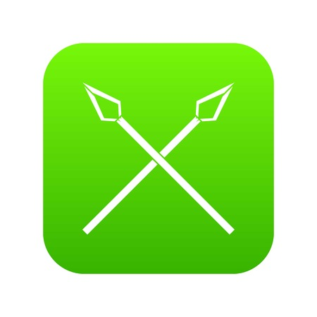 Spear icon green vector isolated on white background Illustration
