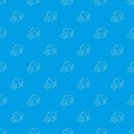 Smart home pattern vector seamless blue repeat for any use